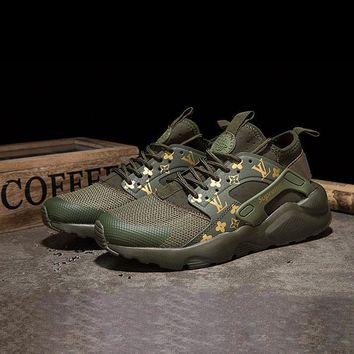Sale LV x Supreme x Nike Air Huarache Custom Army Green Sport Running Shoes