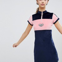 Lazy Oaf Velour Dress With Neck Zip at asos.com
