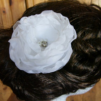 White Wedding Hair Flower, Bridal Hairpiece, Ivory or White, Rhinestone and Glass Pearl Center, For Brides, Bridesmaids, Special Occasion