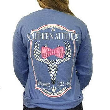 Country Life Outfitters Blue Southern Attitude Chevron Deer Skull Bow Hunt Long Sleeve Bright T Shirt