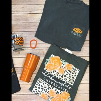 OSU leopard with roses comfort colors tshirt