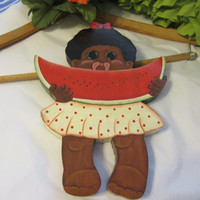 Vintage 1040s Black Americana Handmade and Hand Painted Wooden Little Black Girl Eating Watermelon Wall Art -One of A Kind -Unique Gift Idea