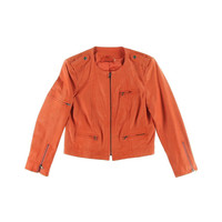 Alice + Olivia Womens Leather Cropped Motorcycle Jacket