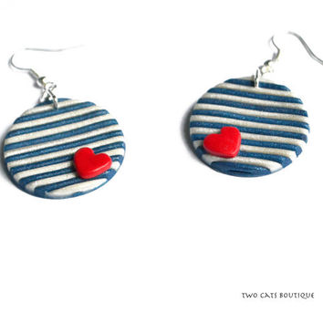 Blue and white stripes and heart earrings - polymer clay earrings