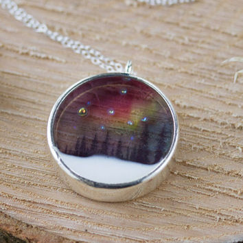 Northern Lights Necklace - Aurora Borealis , Rainbow , Woodland , Nature Jewelry , Aurora Jewellery , Northern Lights