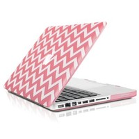 "TopCase Chevron Series Pink Ultra Slim Light Weight Rubberized Hard Case Cover for Macbook Pro 13-inch 13"" (A1278/with or without Thunderbolt) - Not for Retina Display - with TopCase Chevron Mouse Pad"