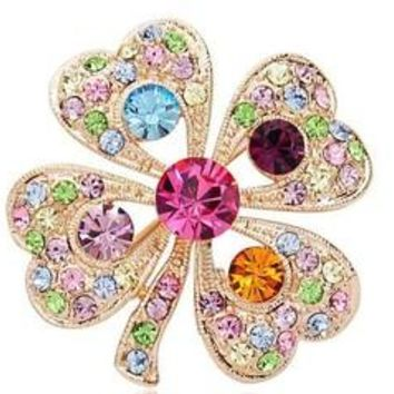 Romantic rhinestone four leaf clover brooch full rhinestone fashion personality gentlewomen corsage