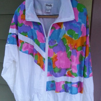 Vintage 80s 90s Windbreaker Jacket Windsuit Abstract Baggy Size 1X