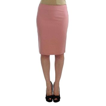 92ed208e9 Exte Pink Wool Stretch Straight Pencil Skirt