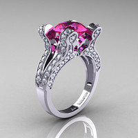 French Vintage 14K White Gold 3.0 CT Pink Sapphire Diamond Pisces Wedding Ring Engagement Ring Y228-14KWGDPS