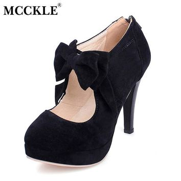 MCCKLE Women High Heels Bowtie Zip Wedding Pumps Party Style Female Fashion Sexy Stiletto Autumn Ladies Platform Plus Size Shoes