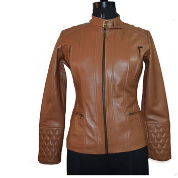 Women's leather jacket with collar belt