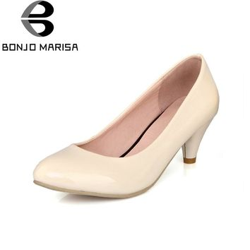 BONJOMARISA Women's Classic Spiked Heel Shoes Woman Round Toe Less Platform Official Pumps Big Size 34-47