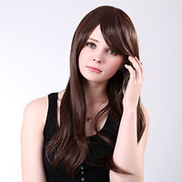 Capless Long High Quality Synthetic Brown Straight Side Bang Wings