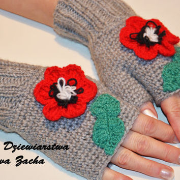 Spring Fingerless mittens with poppy, fingerless gloves , Knit mittens