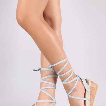Denim Leg Wrap Espadrille Platform Wedge | UrbanOG