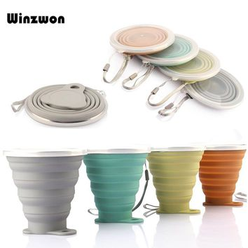 250ML Silicone Travel Cup Retractable Folding Tea Cup Collapsible Coffee Cups With Dustproof Cover Lid Outdoor Sports Water Cup