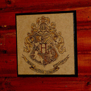 Harry Potter art  woodburned Hogwarts crest by BaconFactory