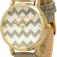 Women's Geneva Chevron Style Leather Watch - Grey