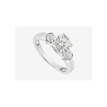 Brilliant Cut Round CZ Engagement Ring in 14K White Gold 1.20 Carat TGW