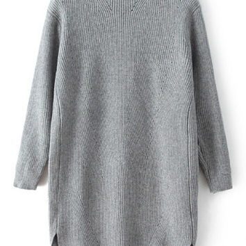 Grey High Neck Dip Hem Sweater Dress