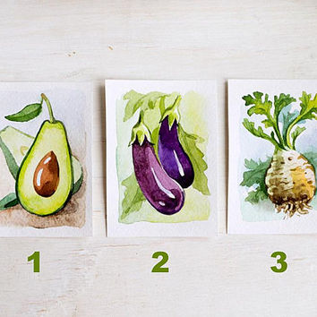 shop paintings of vegetables watercolor on wanelo