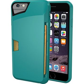 "iPhone 6 Plus/6s Plus Wallet Case - Vault Slim Wallet for iPhone 6+/6s+ (5.5"") by Silk - Ultra Slim Protective Credit Card Phone Cover (Pacific Green)"