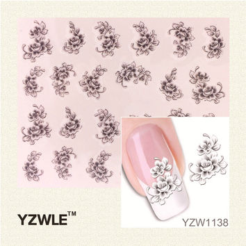 YZWLE 1 Sheet Water Transforr Nail Art stickers Elegant Light Blue Peony s n French Manicure