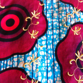 African Wax Print Fabric by the HALF YARD. Blue, Hot Pink, Black and Gold--Giant Flowers and Bullseye with Gold Embroidery