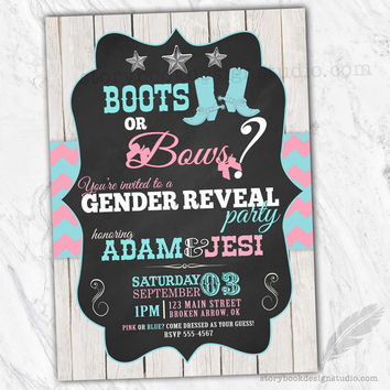 Boots or Bows Gender Reveal Invitations