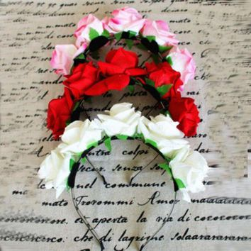ONETOW Sweet Women Girls Rose Flower Garland Hair Head Band Crown For Bride Flower New SL34
