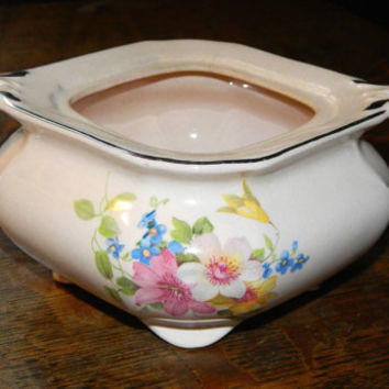 Gorgeous Pink Floral China Sugar Bowl with Platinum Trim Made by Taylor Smith & Taylor