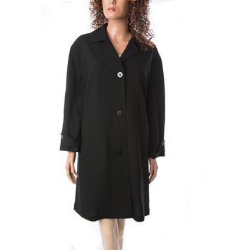DONNA KARAN Signature Stretch-wool Made In Italy Pea Coat