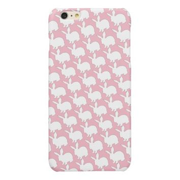 White Easter Bunny Pattern on Pink background Glossy iPhone 6 Plus Case