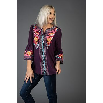 Plum Embroidery Floral Bell Sleeve Top