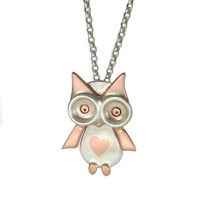 Lovely Owl Sterling Silver and Copper Necklace