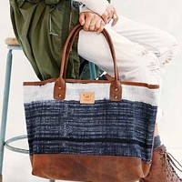 Will Leather Goods Indigo Batik Tote Bag- Black Multi One