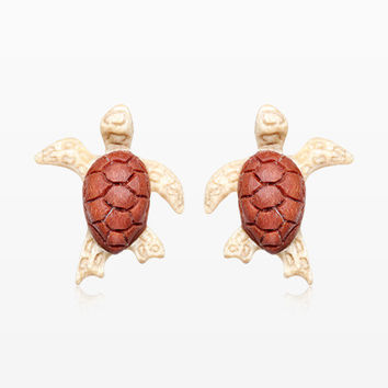 A Pair of Sea Turtle Handcarved Earring Stud
