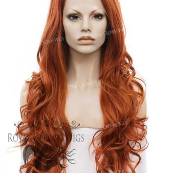"""26"""" Heat Safe Synthetic Lace Front """"Constance"""" with Curly Texture in Copper"""