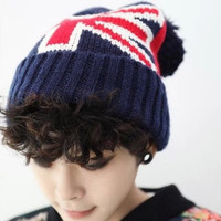 Dark Blue British Flag Print Knitted Hat