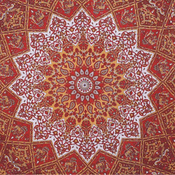 Indian Star Mandala, Hippie Psychedelic, Indian Tapestry Throw Wall Hanging, Queen Bedspread throw Decor Art, Bohemian Wall Hanging