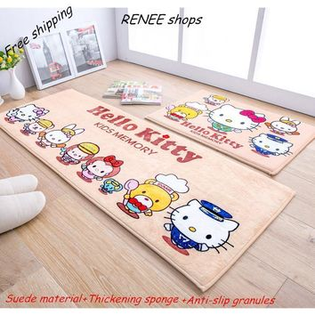 Hello kitty Printed Front Door Mat Flannel Suede Anti-Slip Floor Mat Bathroom Carpet 40*60/50*80/60*90cm Home Decoration Doormat
