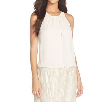 Women's Aidan by Aidan Mattox Chiffon & Beaded Mesh Blouson Dress,