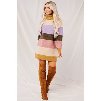 Cuddle And Chill Sweater (Mustard/Cream)