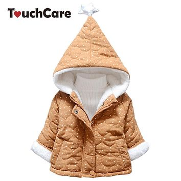 TouchCare Baby Boys Winter Coat Children Fleece Witch Hat Hooded Jacket Kids Girls Star Pattern Warm Outerwear Padded Clothes