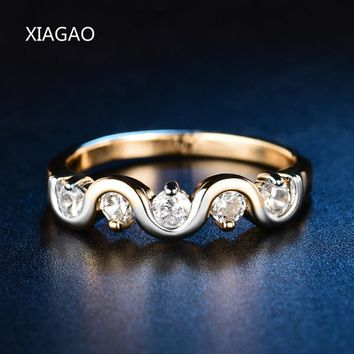 XIAGAO Fashion Elegant Gold Color Lover's Wave Rings for Women Trendy Hammered Rings in High Quality Anel Feminino Bague ZR589