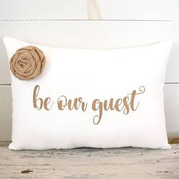 Handmade Be Our Guest 15x10 Fabric Bedroom Pillow