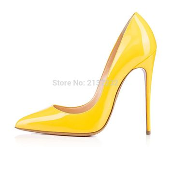 2016 Solid color Stiletto women high heels ladies evening shoes customize slip-on Pointed Toe Pumps bridal shoes big size5-15