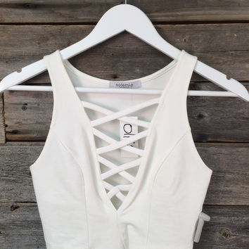 STRAPPY CROP TANK - IVORY