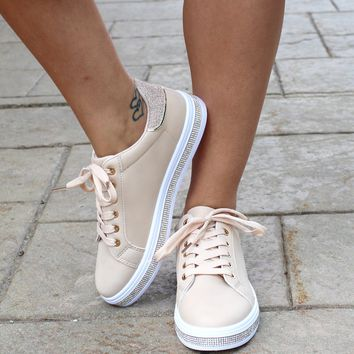 Rhinestone Trim Lace Up Tennis Shoe